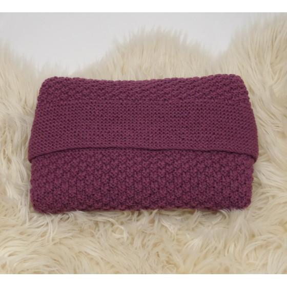 Couverture bébé laine naturelle prune