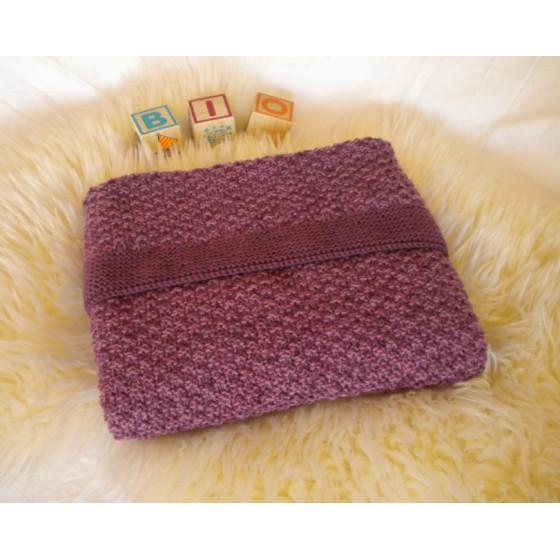 Couverture bébé laine naturelle chinée prune
