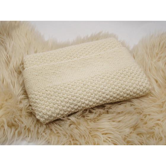 Couverture bébé Ecrue laine naturelle