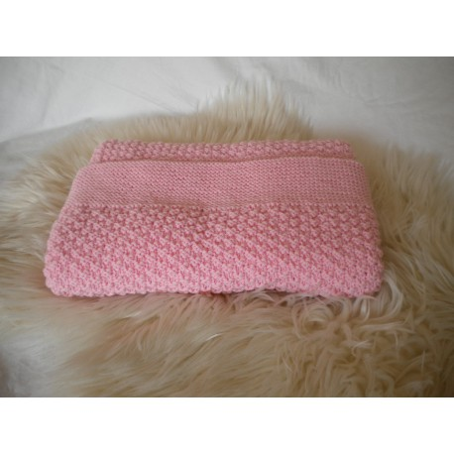 Couverture bébé laine rose
