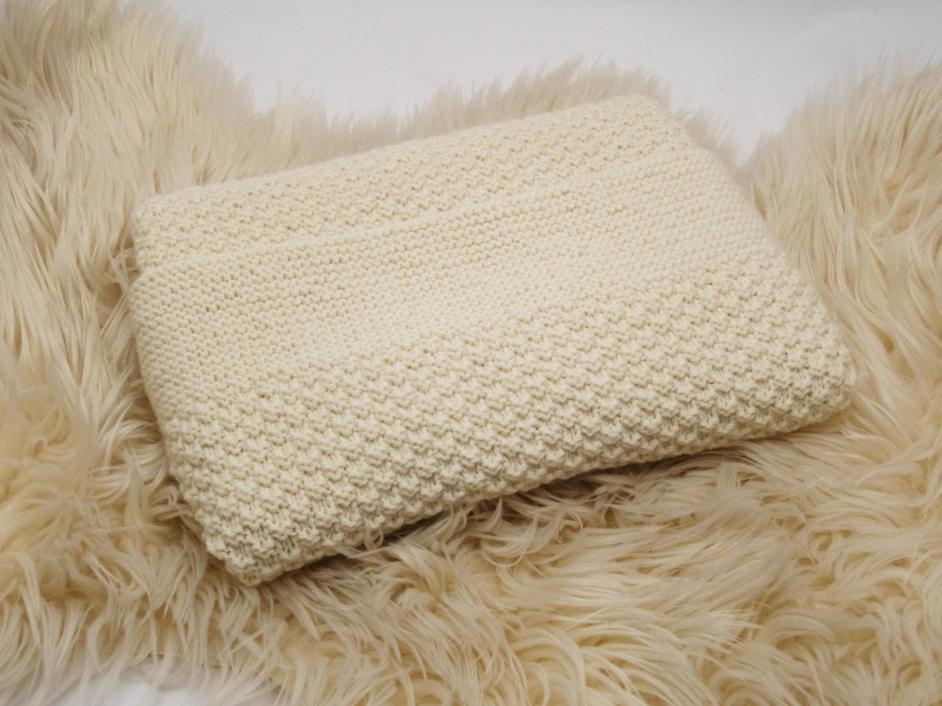couverture bébé en laine couverture épaisse écru bébé tricotée main 100% laine mérinos naturel couverture bébé en laine