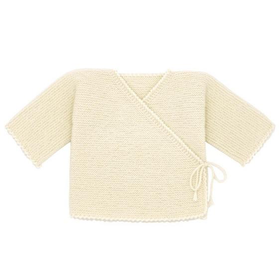 Brassière cache-coeur bébé laine écrue