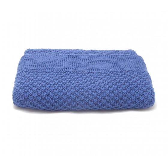 Couverture bébé laine indigo