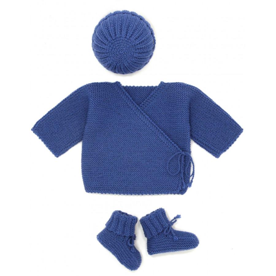 ensemble brassière uni garçon bleu tricoté main en 100% laine mérinos dbe40f6347a