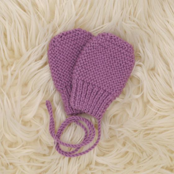 Moufles bébé violine laine naturelle