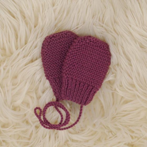 Moufles bébé prune laine naturelle