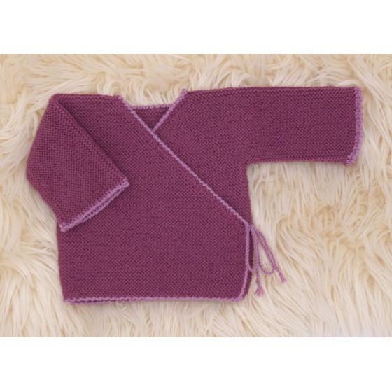 Brassière bébé prune/violine laine naturelle