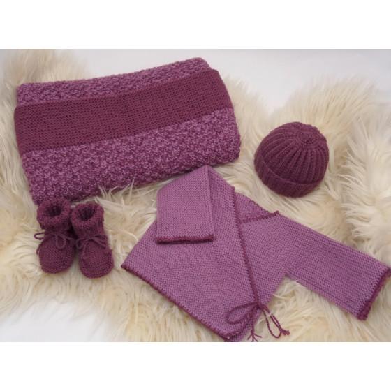 Trousseau laine naturelle violine/prune