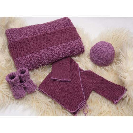 Trousseau bébé Prune/violine laine naturelle