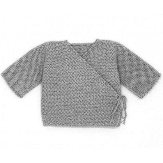 Brassière bébé cache-coeur laine souris