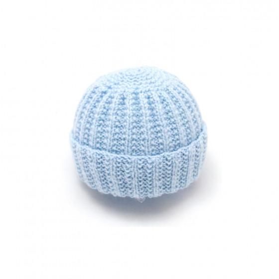 Bonnet rond bébé laine bleu ciel