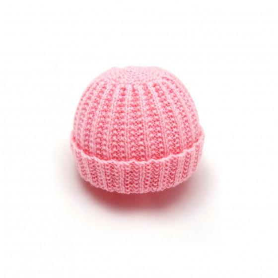 Bonnet rond bébé laine rose