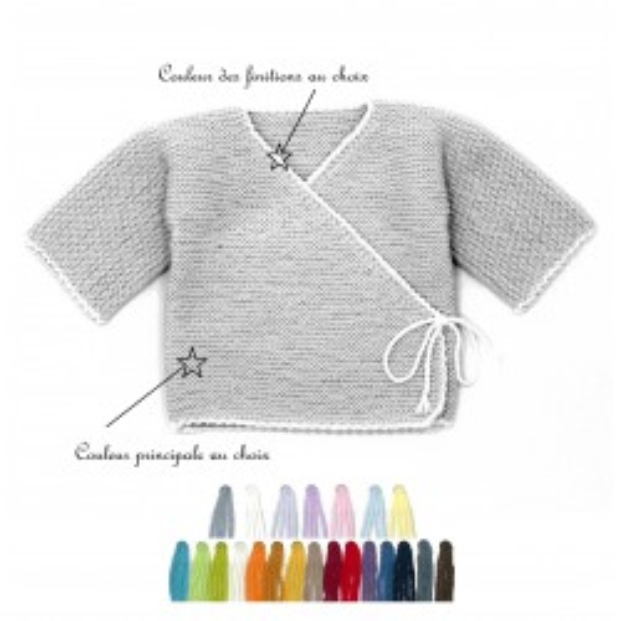 Brassière bébé laine bi-color au choix