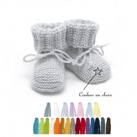 Chaussons bébé laine couleur au choix