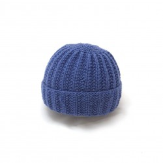 Bonnet rond bébé laine indigo