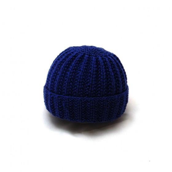 Bonnet rond bébé laine bleu marine
