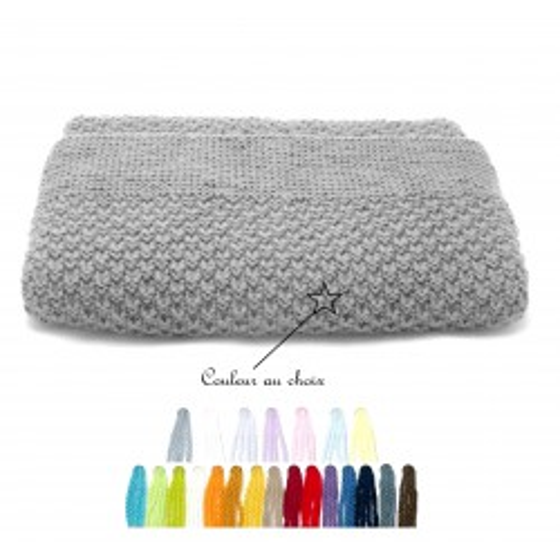 Couverture bébé laine couleur au choix