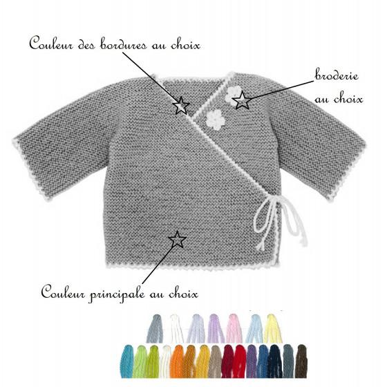 Brassière laine brodée bi-color au choix