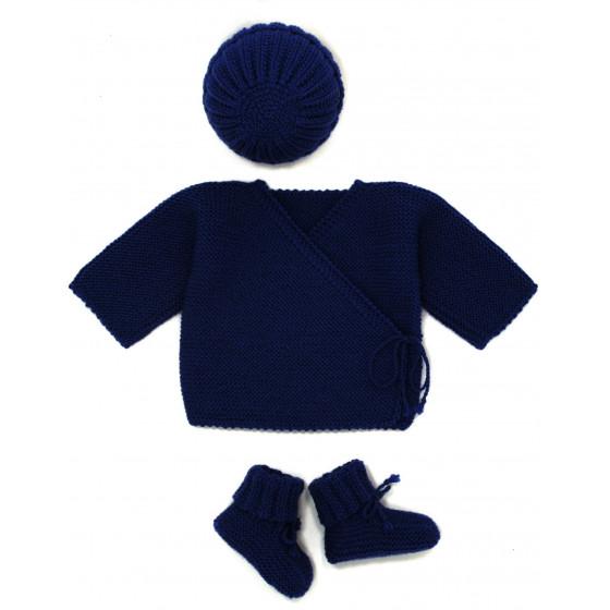 Ensemble Brassière laine bleu marine