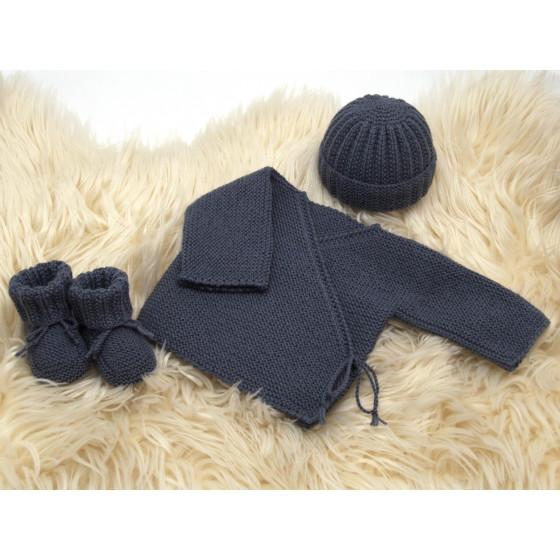 Ensemble Brassière bébé laine anthracite