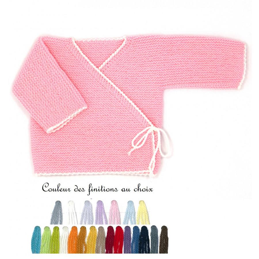 Brassière bébé laine rose bi-color